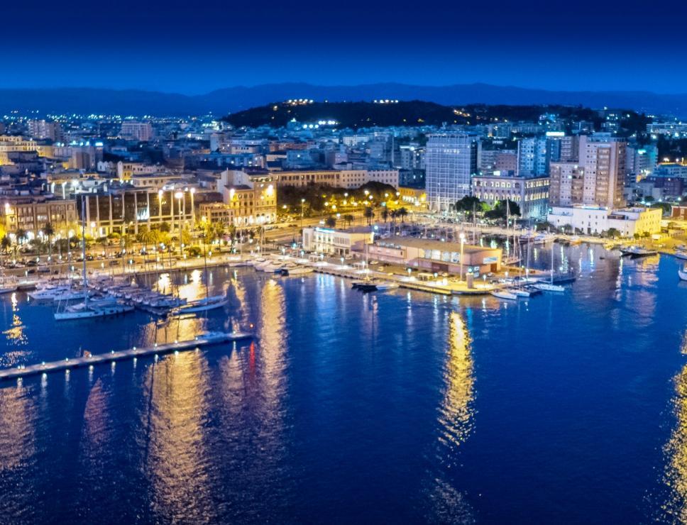 Notturno del porto di via Roma - Cagliari