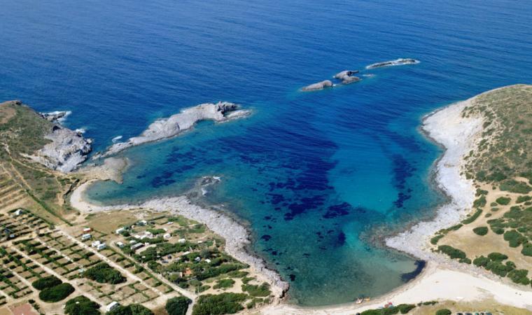 Veduta aerea di Cala Sapone; The wide bay of Cala Sapone, Sant'Antioco