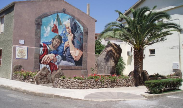 Dualchi, murale nel centro storico; Mural in the centre of village, Dualchi