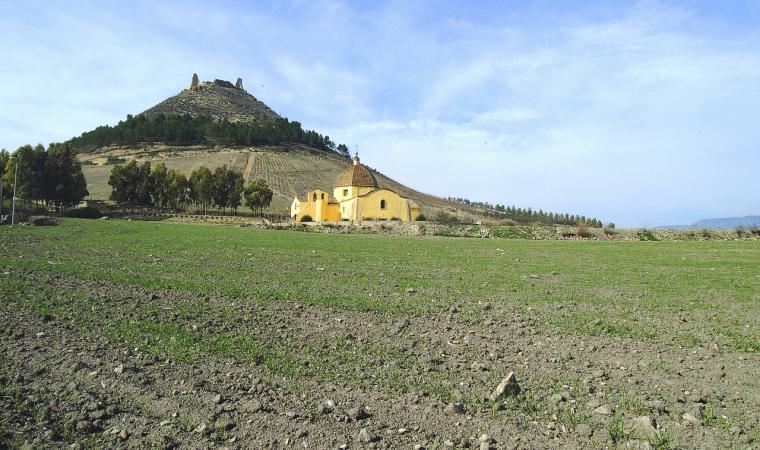 Sullo sfondo il castello di Las Plassas; The castle of Las Plassas