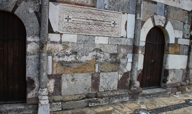 Chiesa di san Platano, dettaglio facciata - Villaspeciosa