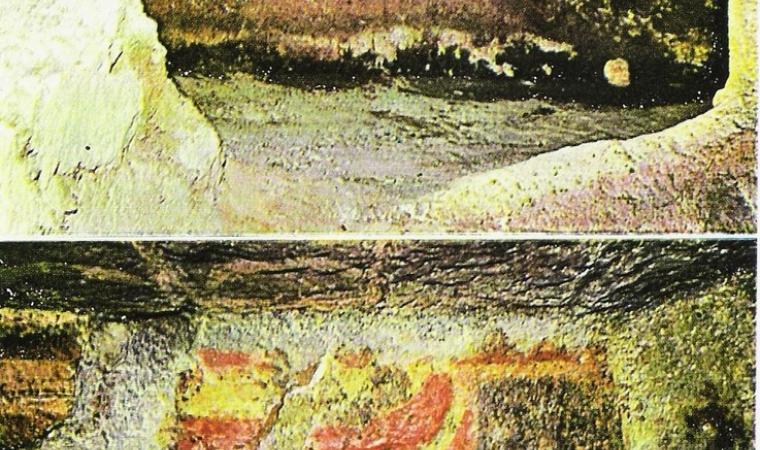 Dettaglio decori, domus  - Necropoli di Mandra Antine - Thiesi