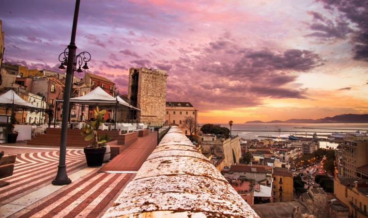 Cagliari - Bastione Santa Croce by night
